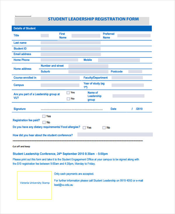 student leaders conference registration form