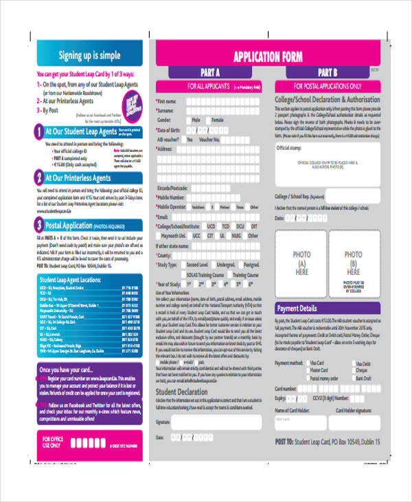 student leap card application form