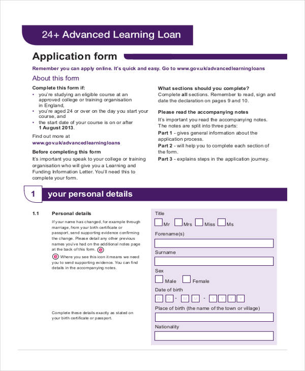 40 Sample Student Application Forms – Students Loan Application Form