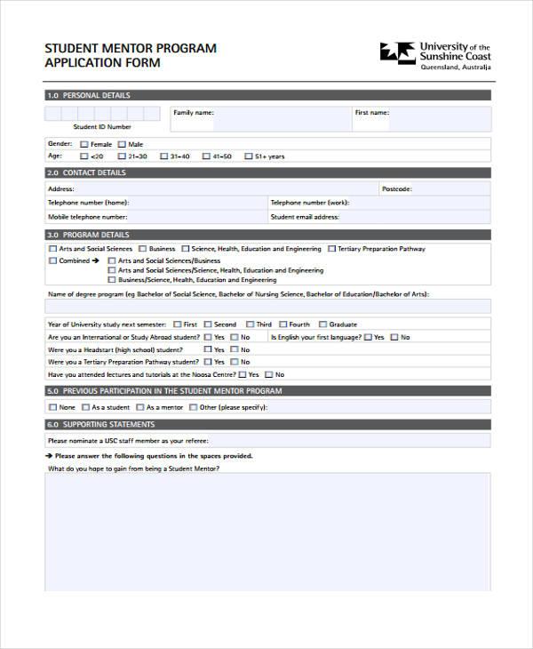 student mentor program application form