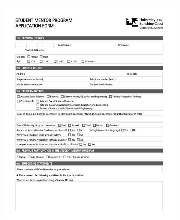 student mentor program application form1