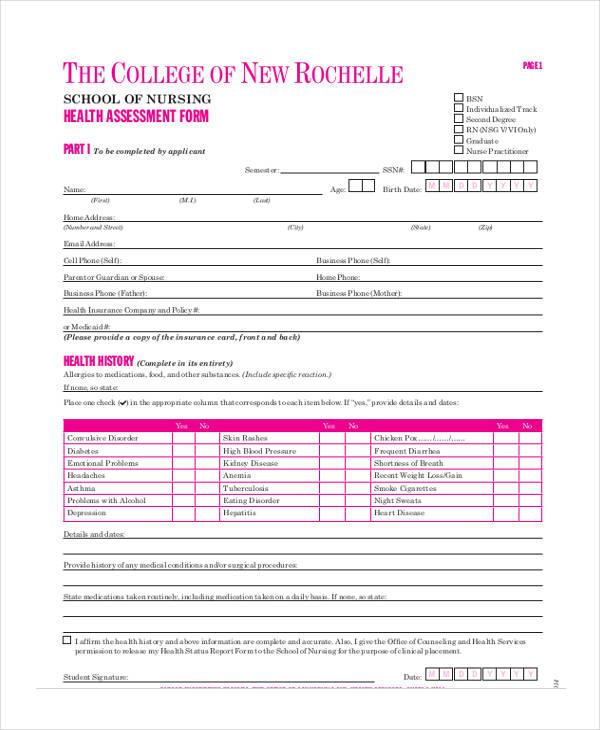 student nursing health assessment form