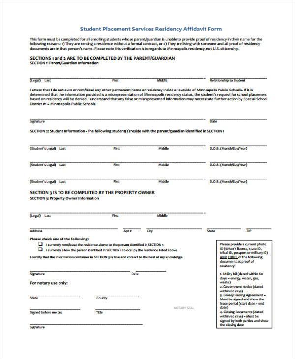 student placement affidavit form