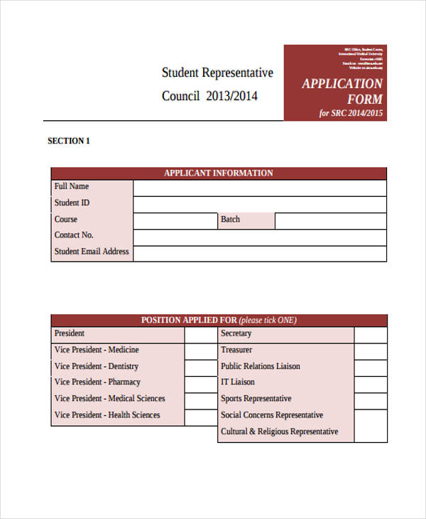 student representative council application form1
