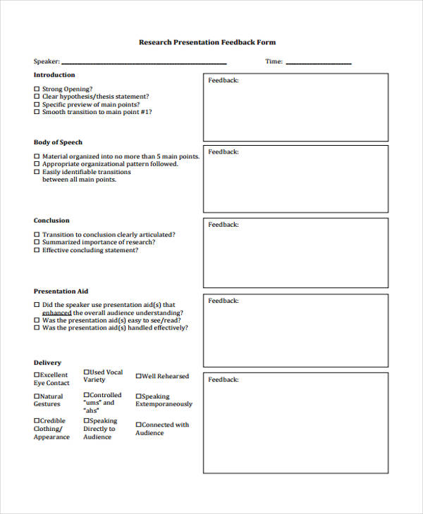 student research presentation feedback form