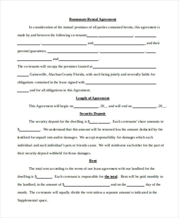 student roommate rental agreement form