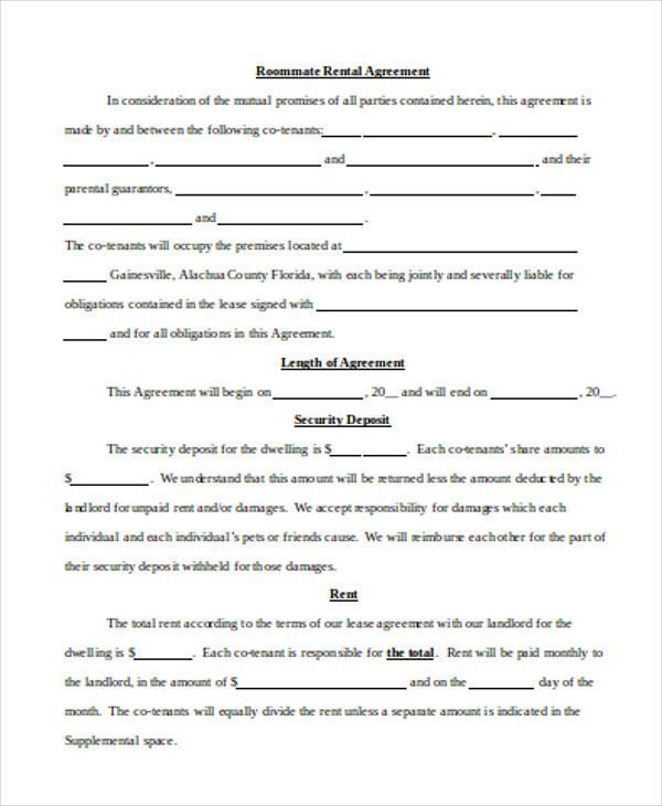 room rental lease agreement