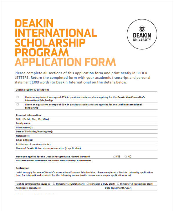 Student Application Forms In Pdf