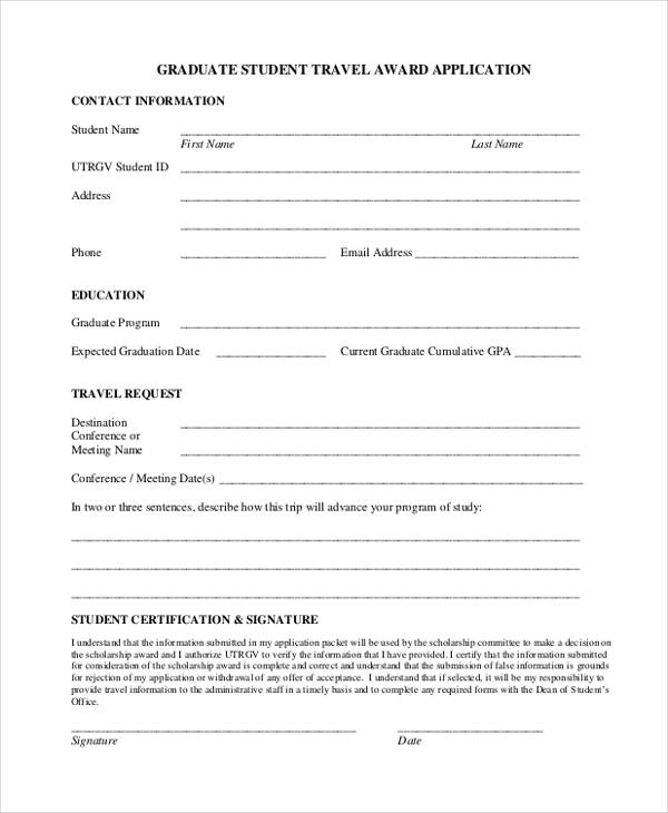 student travel award application form