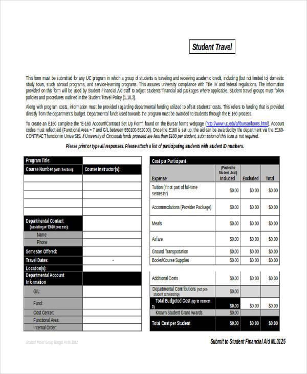 student travel budget form