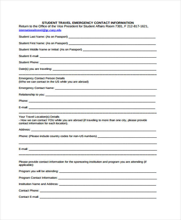 student travel emergency contact form