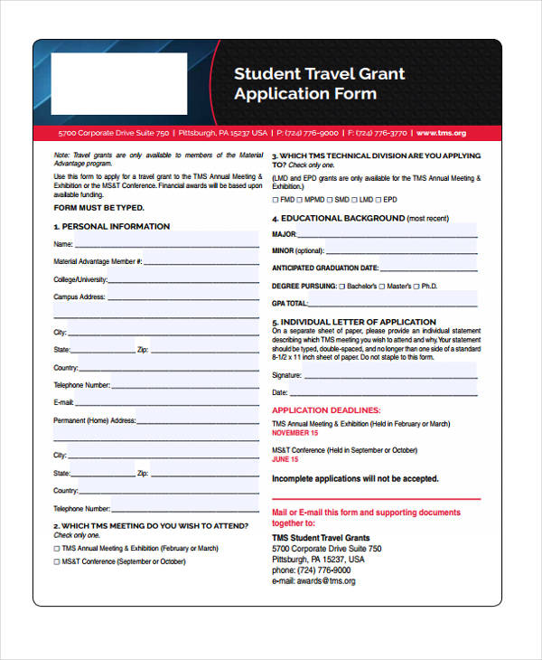 student travel grant application form