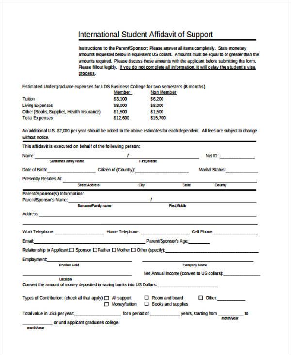 student visa affidavit support form