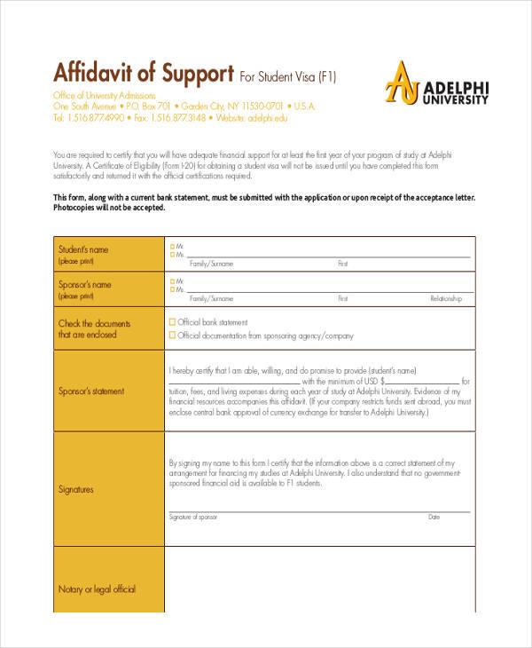 student visa affidavit support form1