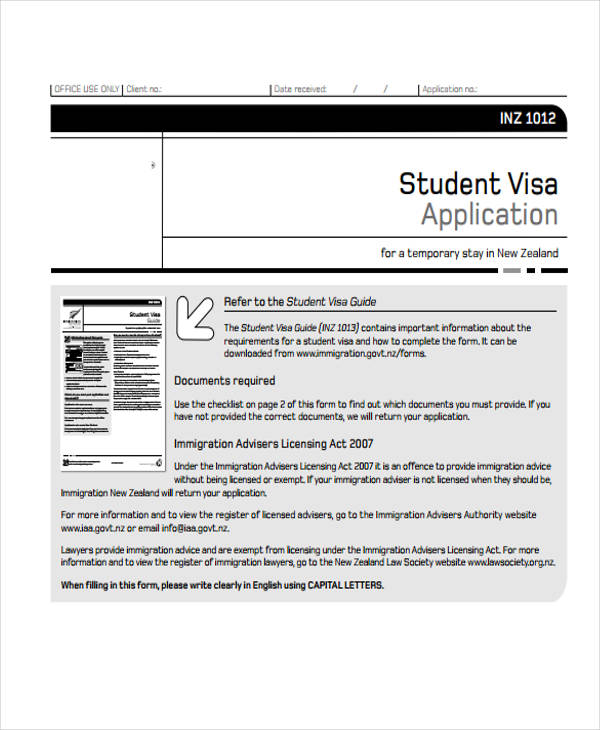 student visitor visa application form1