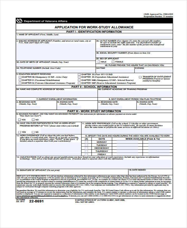 student work study allowance application form