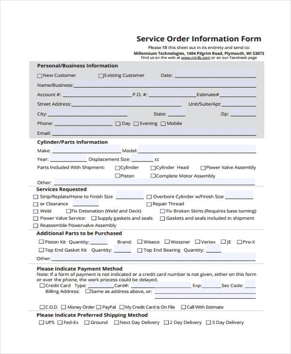 support deduction service order information form