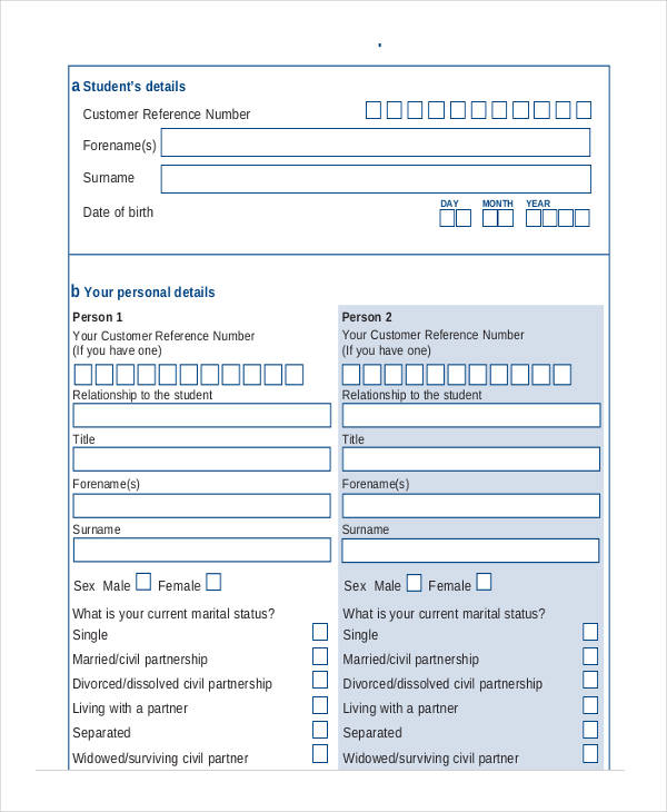 support student finance application form