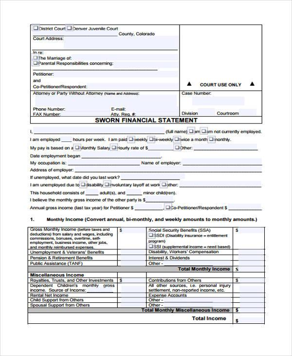 sworn financial affidavit form