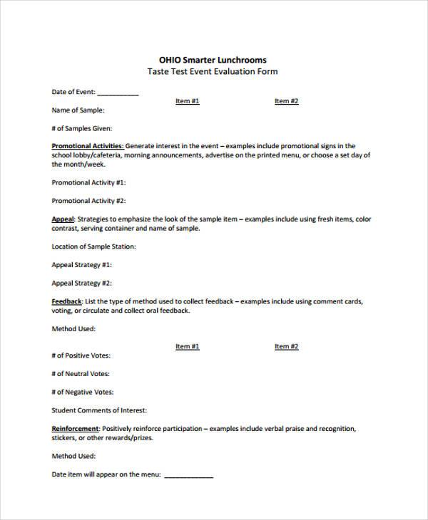 taste test event evaluation form