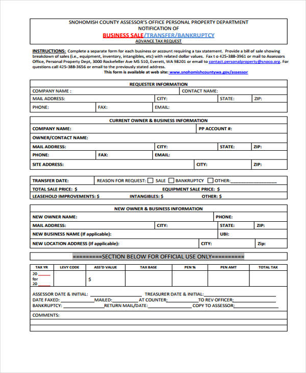 tax business sale form sample