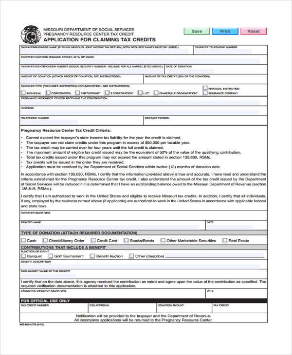 tax credit claim application form