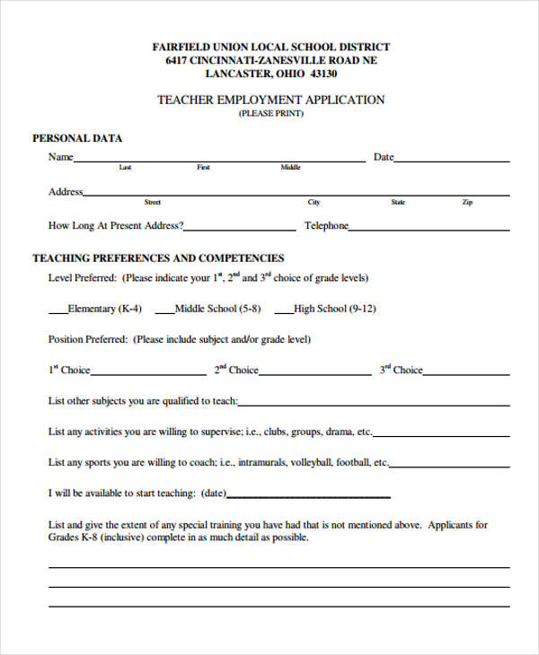 7 teacher employment form sample free sample example format download teacher employment application altavistaventures Choice Image
