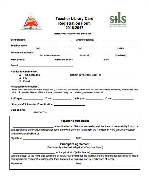 teacher library card registration