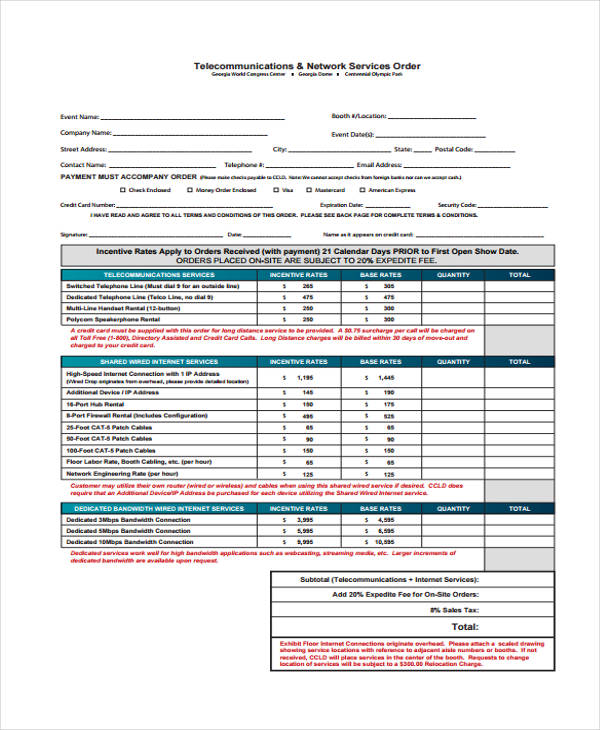 telephone network service order form