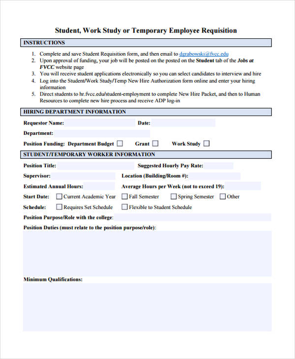 temporary employment requisition form
