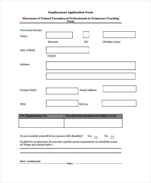 temporary teacher employment application form