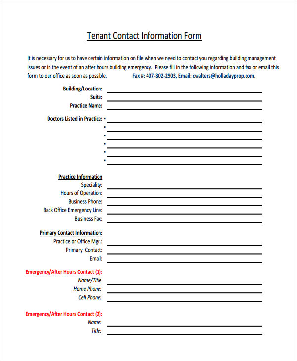 8 tenant information form samples free samples examples format