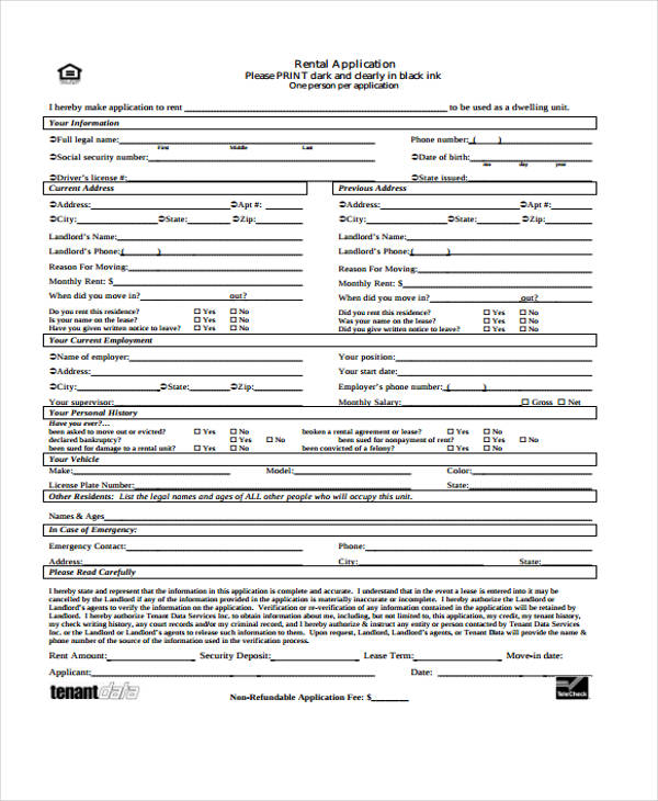 tenant data rental application form