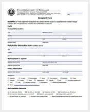texas medical complaint form example