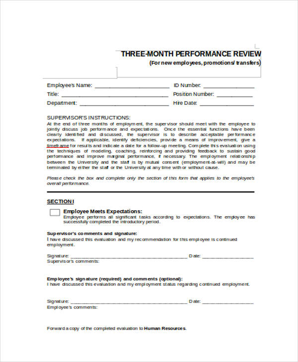 three month performance review form