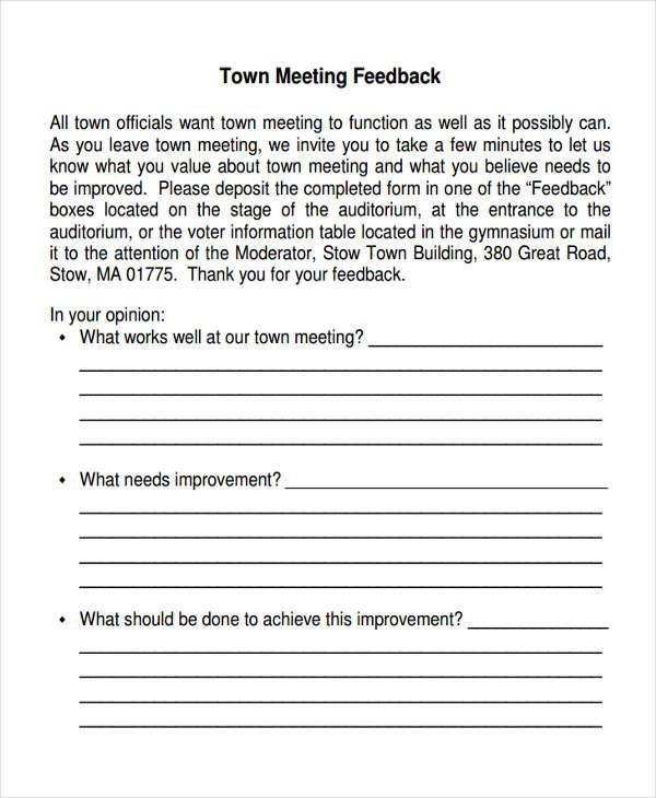 town meeting feedback