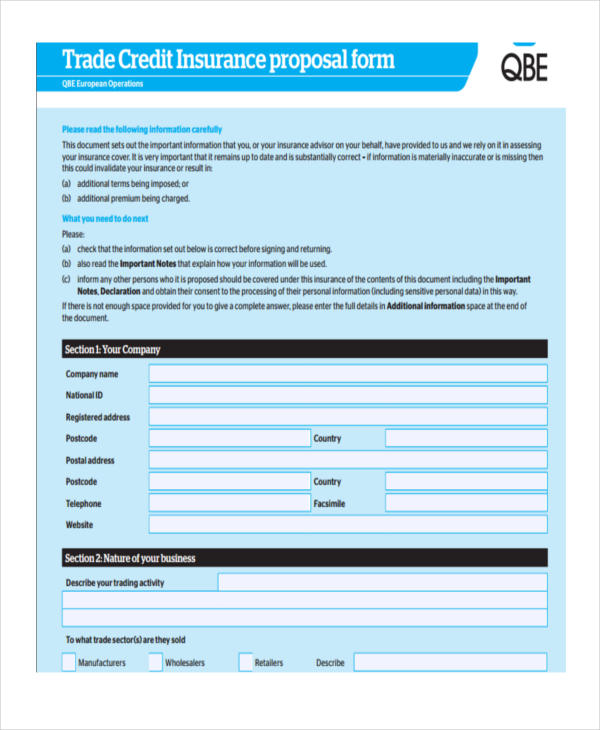 trade credit insurance policy proposal form