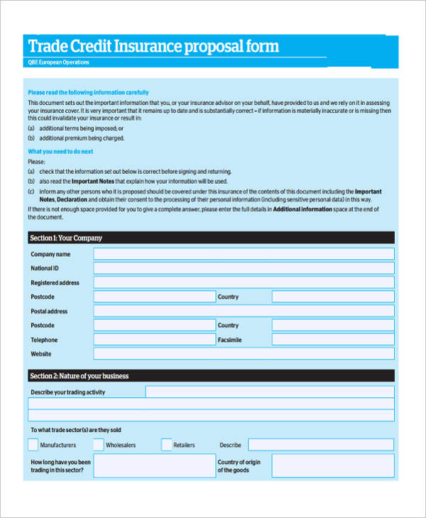 trade credit insurance proposal form
