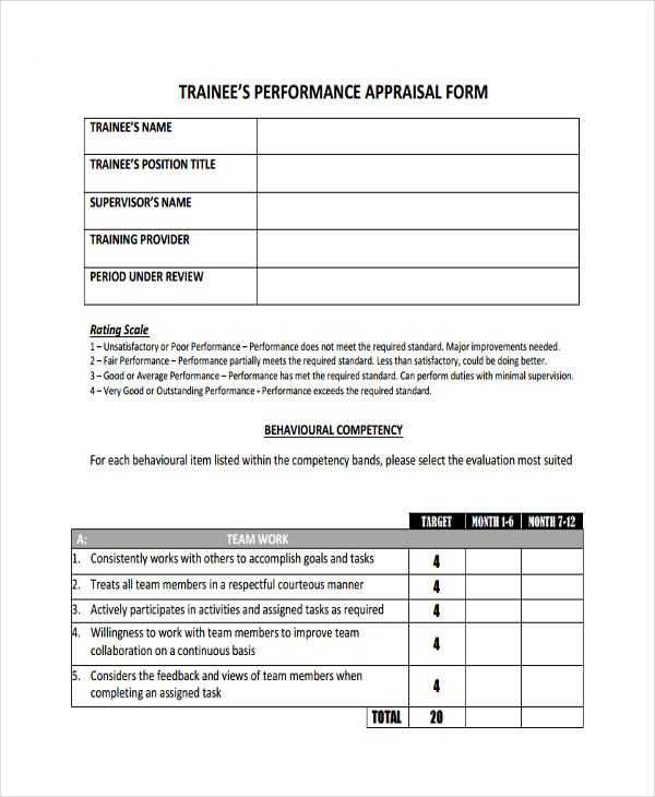 trainee performance