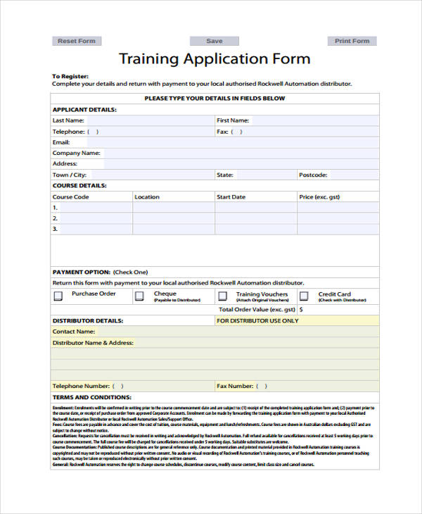 11 Training Application Form Sample - Free Sample, Example, Format