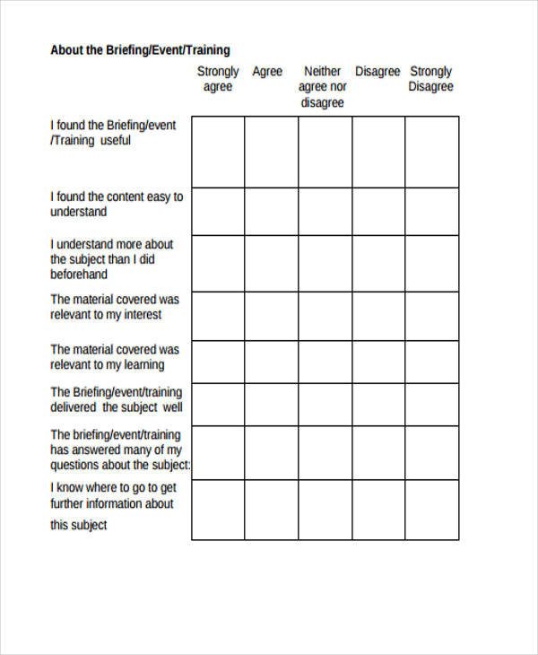 training conference event feedback form