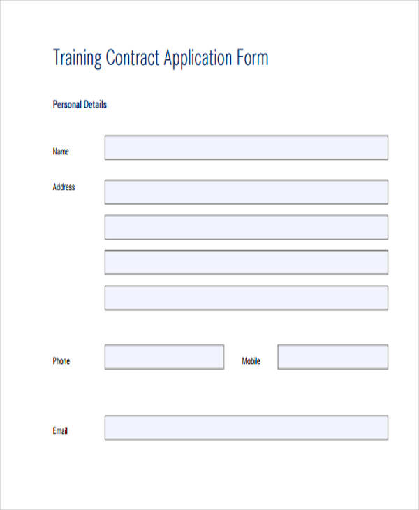 training contract application form