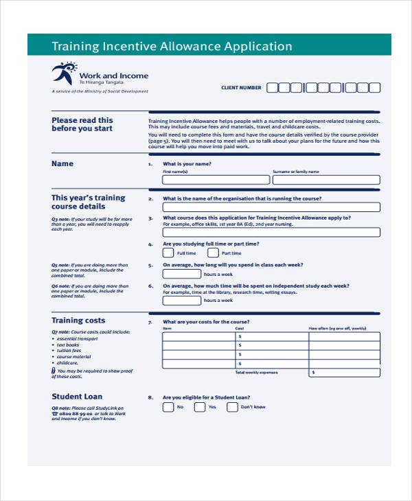 training incentive allowance application form