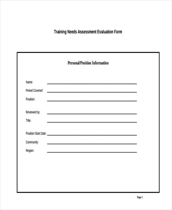 training needs assessment evaluation form