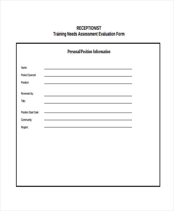 training needs assessment evaluationform