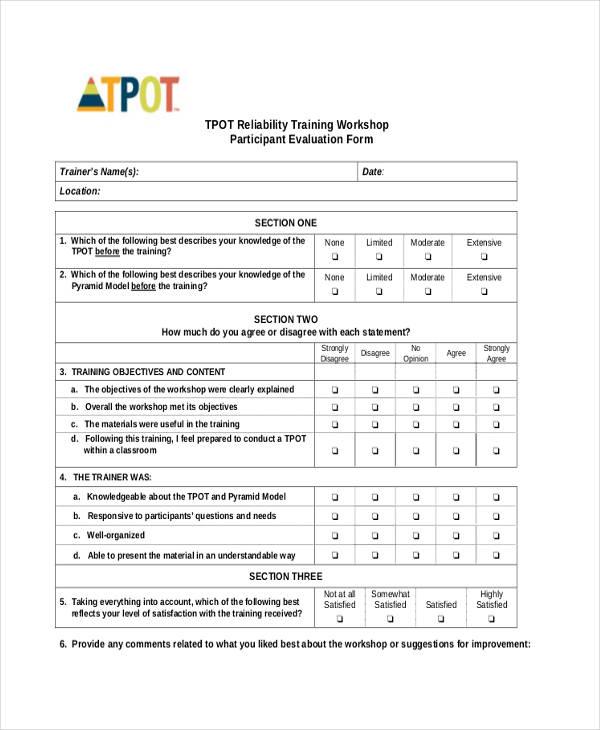 training workshop participant evaluation form