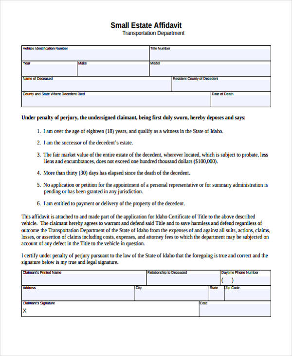 transportation small estate affidavit form