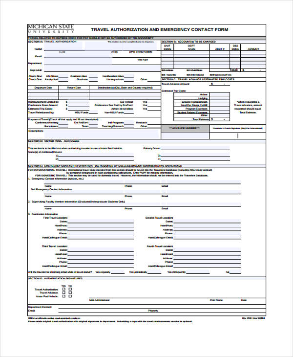 travel authorization emergency contact form