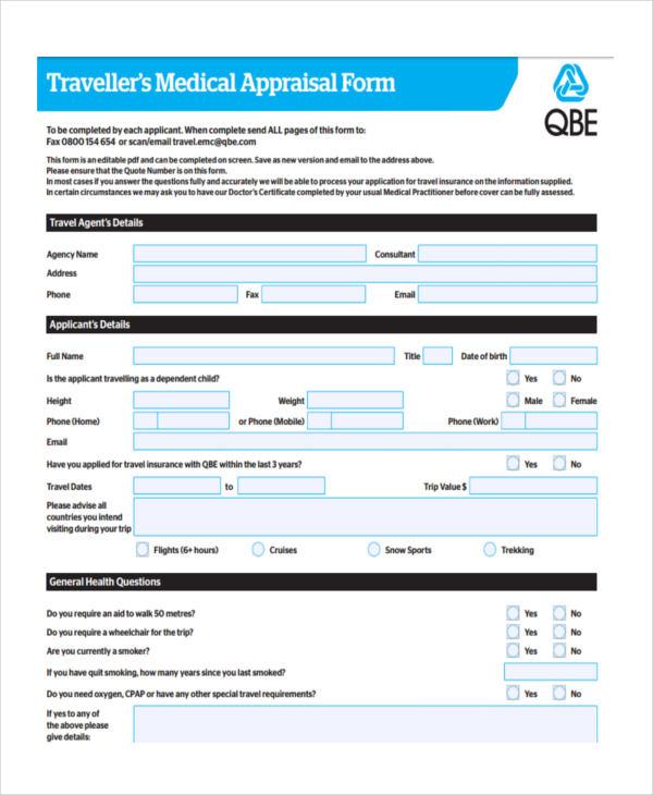 travellers medical appraisal