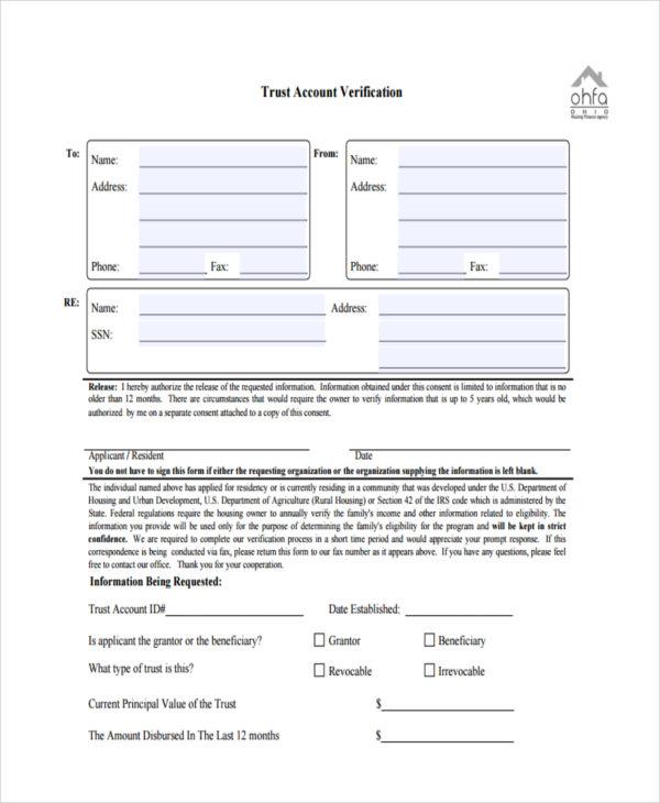 trust account verification